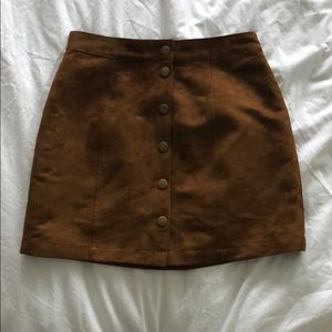 Suede cognac button up skirt